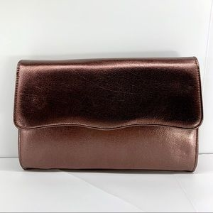 Rosy Bronze Faux Leather Snap Flap Clutch Pockets